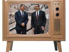 Ponta si Iohannis, in acelasi timp la Tv, dar nu impreuna: Scaune goale, stampile cu absent (Foto)