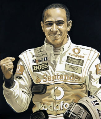 Portret al lui Lewis Hamilton, pictat in ulei de motor