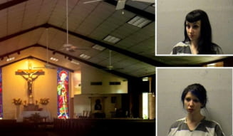Preot filmat pe fereastra bisericii facand sex cu doua dominatoare in altar. Locul scenei erotice a fost ars