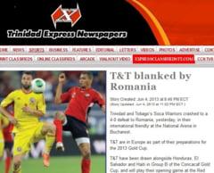 Presa din Trinidad Tobago, despre infrangerea din Romania