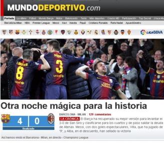 Presa spaniola, in delir dupa ce Barcelona a eliminat Milanul din Champions League