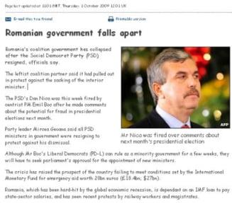 Presa straina: Guvernul de la Bucuresti s-a prabusit