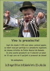 Preselectie pentru copii si tineri pasionati de folclor, la Alba Iulia, in cadrul Taberei interpretilor de muzica populara