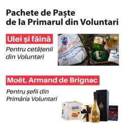 Primaria lui Pandele imparte pachete cu ulei si faina pentru locuitorii din Voluntari, dar cumpara si sampanie si pateu de rata afumata