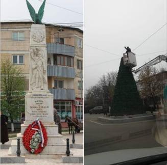 Primarul care a pus bradul de Craciun peste Monumentul Eroilor (Foto)
