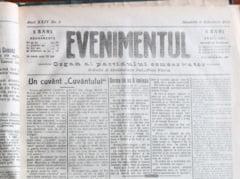 "Primul Razboi Mondial reflectat in presa vremii. Ziarul ""Evenimentul"" acum 100 de ani - 6 februarie 1916 GALERIE FOTO"