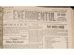 """Primul Razboi Mondial reflectat in presa vremii. Ziarul """"Evenimentul"""" acum 100 de ani - 7 octombrie 1917 GALERIE FOTO"""