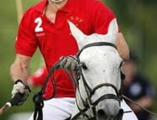 Printul William, cu gandul la scutece, la un meci de polo