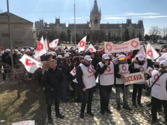 Protest Sanitas la Iasi: Toti cred ca in Sanatate curge lapte si miere, insa nu e adevarat (Foto)