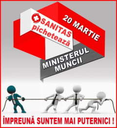 Protest Sanitas la Ministerul Muncii