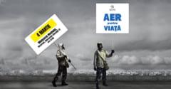 Protest cu masti de gaz la Ministerul Mediului: Aerul nostru e praf si pulbere (Video)