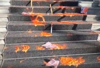 Protest cu vopsea rosie si cutite la Ministerul Justitiei, dupa crima de la Medias: Manifestantii au fost ridicati de politisti (Video)