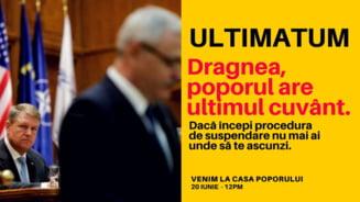 """Protest in fata Parlamentului, sub sloganul """"Ultimatum pentru Dragnea"""". Sunt anuntate manifestatii si in alte orase"""