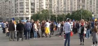 Protest la Piata Victoriei: Peste 100 de persoane au sfidat masurile impuse de autoritati impotriva COVID-19 UPDATE