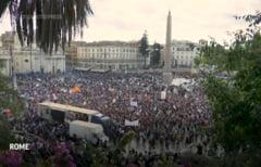 Protest la Roma față de obligaţia certificatului sanitar. Mii de oameni au ieșit în stradă VIDEO