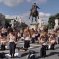 Protest neobișnuit la Roma: Demonstrație în lenjerie intimă a fostelor stewardese de la Alitalia VIDEO