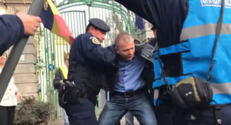 Protestatari ridicati de jandarmi din fata sediului PSD. Un jurnalist s-a agatat de un semn de circulatie pana l-a smuls din pamant (Video)