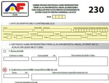 Puteti completa un formular 230 pentru sprijinirea unui ONG