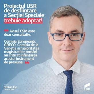 Reactia USR dupa ce proiectul de desfiintare a Sectiei Speciale a primit aviz negativ in CSM