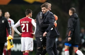 Reactia lui Steven Gerrard dupa penaltiul ratat de Ianis Hagi in Europa League