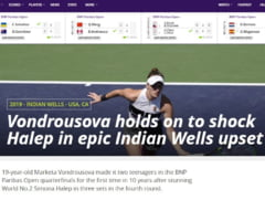 Reactii din presa internationala dupa eliminarea neasteptata suferita de Simona Halep la Indian Wells