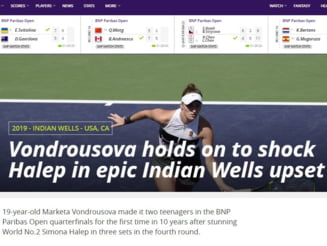 Reactii din presa internationala dupa eliminarea neasteptata suferita de Simona Halep la Indian Wells