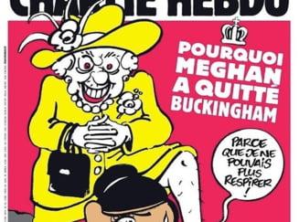 Reactii dure la noua coperta a revistei Charlie Hebdo. Regina apare sufocand-o cu genunchiul pe Meghan Markle, trimitere la uciderea lui George Floyd
