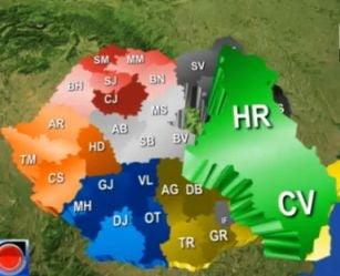 Romania cu noua judete, unul format din Harghita si Covasna - propunerea lui Basescu