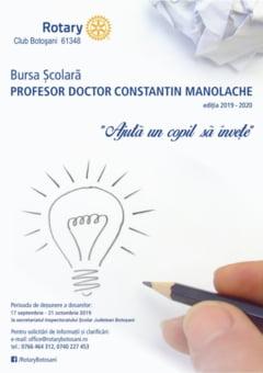 """Rotary Club Botosani lanseaza cea de sasea editie a programului bursier """"Prof. dr. Constantin Manolache"""""""