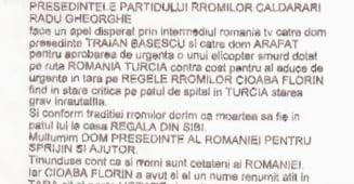 Rromii vor ca Basescu si Arafat sa-l aduca in tara pe Cioaba: Vrem sa moara acasa