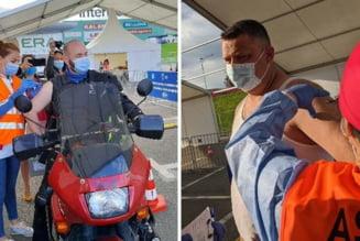 S-a deschis centrul de vaccinare drive-through din Oradea: Un motociclist si seful Politiei Rutiere, printre primii vaccinati