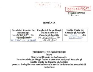 SRI a declasificat protocolul cu Parchetul General si Inalta Curte