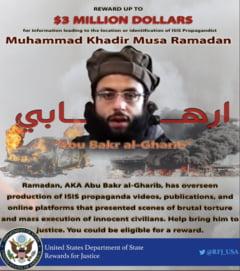 SUA ofera o recompensa de 3 milioane de dolari pentru informatii despre un lider al Statului Islamic