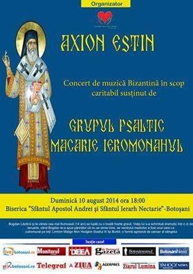 """Salveaza o inima! Concert caritabil pentru Bogdan Lazaroi, sustinut de Grupul Psaltic """"Macarie Ieromonahul"""""""