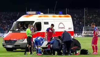 Scene de cosmar la CSU - FCSB: Ivan a lesinat dupa ce a fost lovit, Nita a intervenit de urgenta