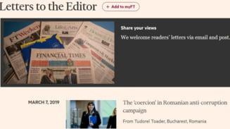 """Scrisoarea lui Tudorel Toader impotriva lui Kovesi, publicata de Financial Times la """"Posta redactiei"""" si in nume propriu"""