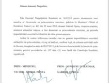 Scrisoarea lui Victor Ponta catre presedintele Klaus Iohannis