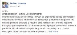 Serban Nicolae face apel, pe Facebook, la luciditate si ratiune in PSD. Ponta ii distribuie postarea