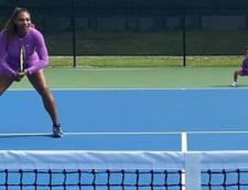 Serena Williams si-a gasit o noua partenera la dublu. Fetita sa de trei ani, Olympia, o insoteste pe teren
