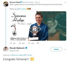 Simona Halep, felicitata de Novak Djokovic