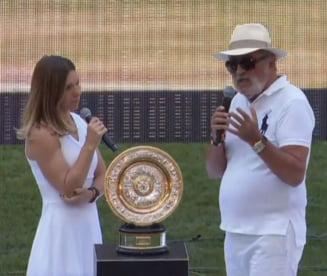 """Simona Halep a prezentat trofeul Wimbledon pe Arena Nationala: """"Este al nostru, este al tarii!"""""""