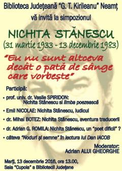 """Simpozion Nichita Stanescu, la Biblioteca Judeteana """"G.T. Kirileanu"""" Neamt"""