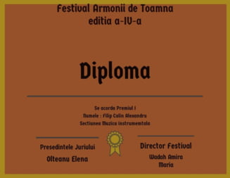 """Slatineanul Alexandru Filip CALIN, primul loc la Concursul National de Interpretare vocala si instrumentala """"Armonii de Toamna"""""""