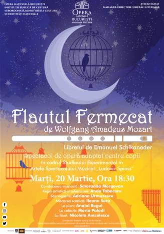 """Spectacolul pentru copii """"Flautul fermecat"""" de Mozart revine la Opera Nationala Bucuresti"""