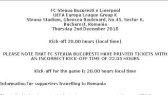 Steaua s-a facut din nou de ras: Biletele la meciul cu Liverpool, tiparite gresit