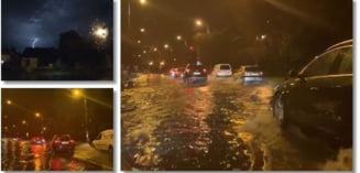Strazi acoperite de apa la Timisoara, curti si garaje inundate, dupa ruperea de nori. 250 de pompieri mobilizati. Foto si video