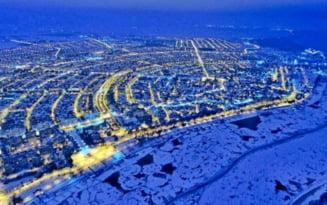 Superbe fotografii aeriene cu Dunarea inghetata la Braila