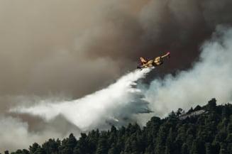 Sute de turisti de pe o insula din Grecia au fost evacuati din cauza focului