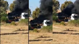 Tanc Merkava al Israelului, in flacari, distrus de o racheta sau o mina a Hamas VIDEO