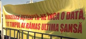 Taximetristii din Ilfov protesteaza in fata Parlamentului